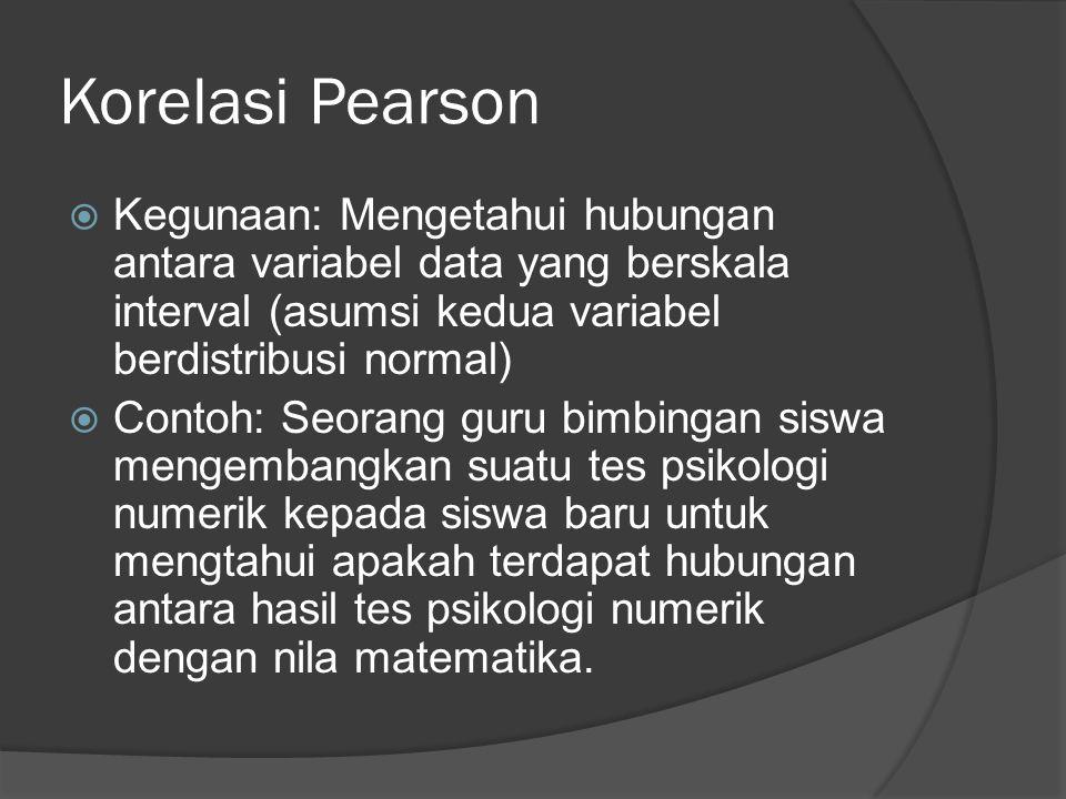 Korelasi Pearson Kegunaan: Mengetahui hubungan antara variabel data yang berskala interval (asumsi kedua variabel berdistribusi normal)