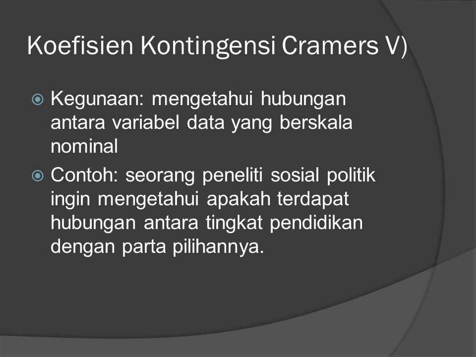 Koefisien Kontingensi Cramers V)
