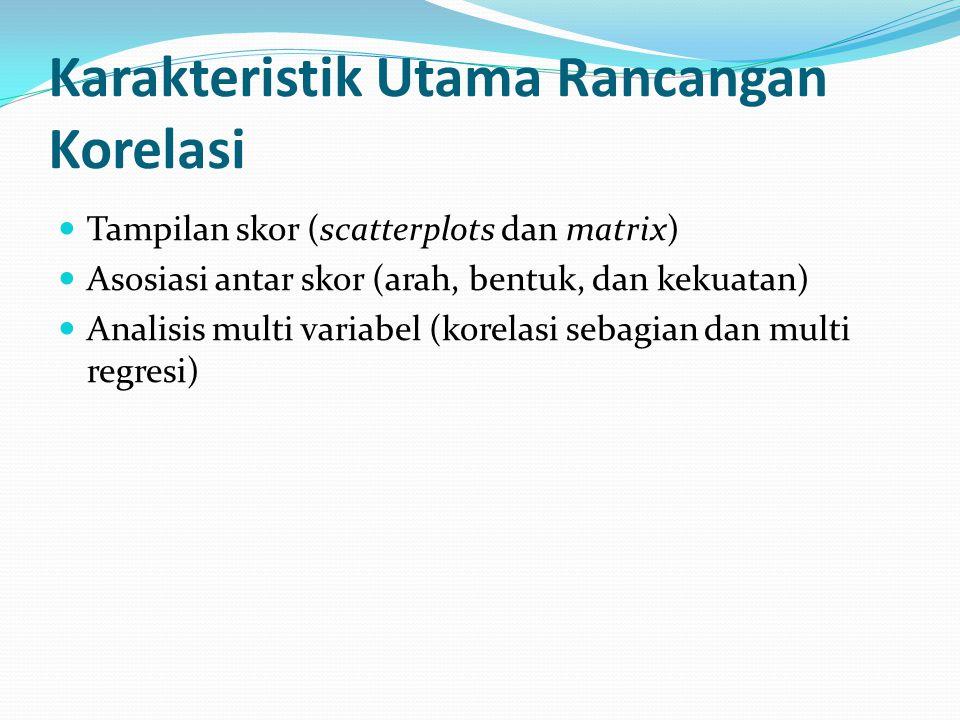 Karakteristik Utama Rancangan Korelasi