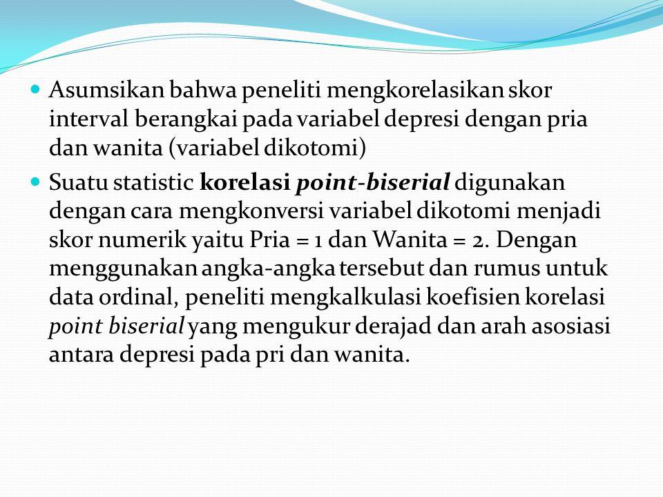 Asumsikan bahwa peneliti mengkorelasikan skor interval berangkai pada variabel depresi dengan pria dan wanita (variabel dikotomi)