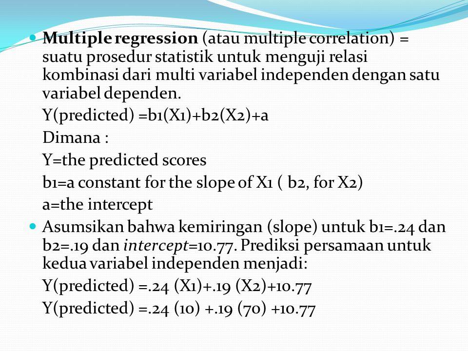 Multiple regression (atau multiple correlation) = suatu prosedur statistik untuk menguji relasi kombinasi dari multi variabel independen dengan satu variabel dependen.