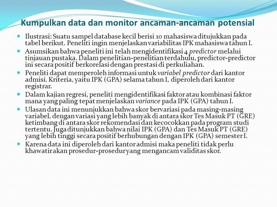 Kumpulkan data dan monitor ancaman-ancaman potensial