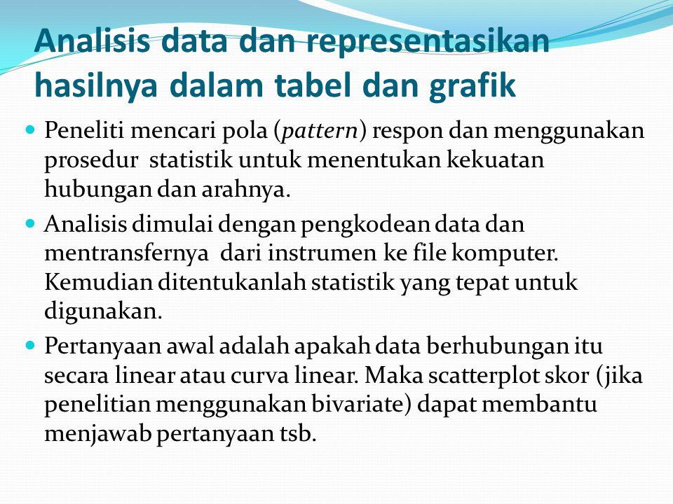 Analisis data dan representasikan hasilnya dalam tabel dan grafik
