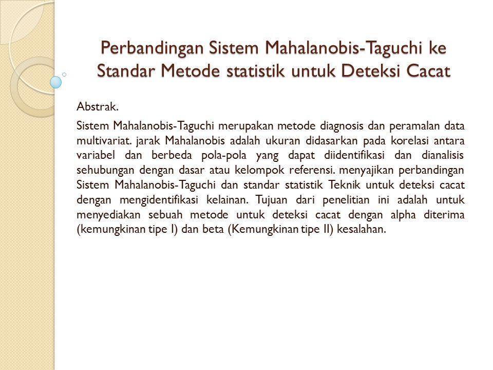 Perbandingan Sistem Mahalanobis-Taguchi ke Standar Metode statistik untuk Deteksi Cacat