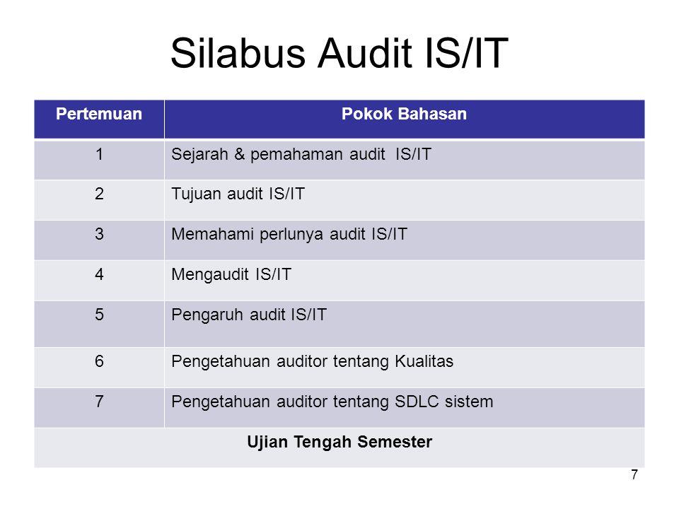 Silabus Audit IS/IT Pertemuan Pokok Bahasan 1