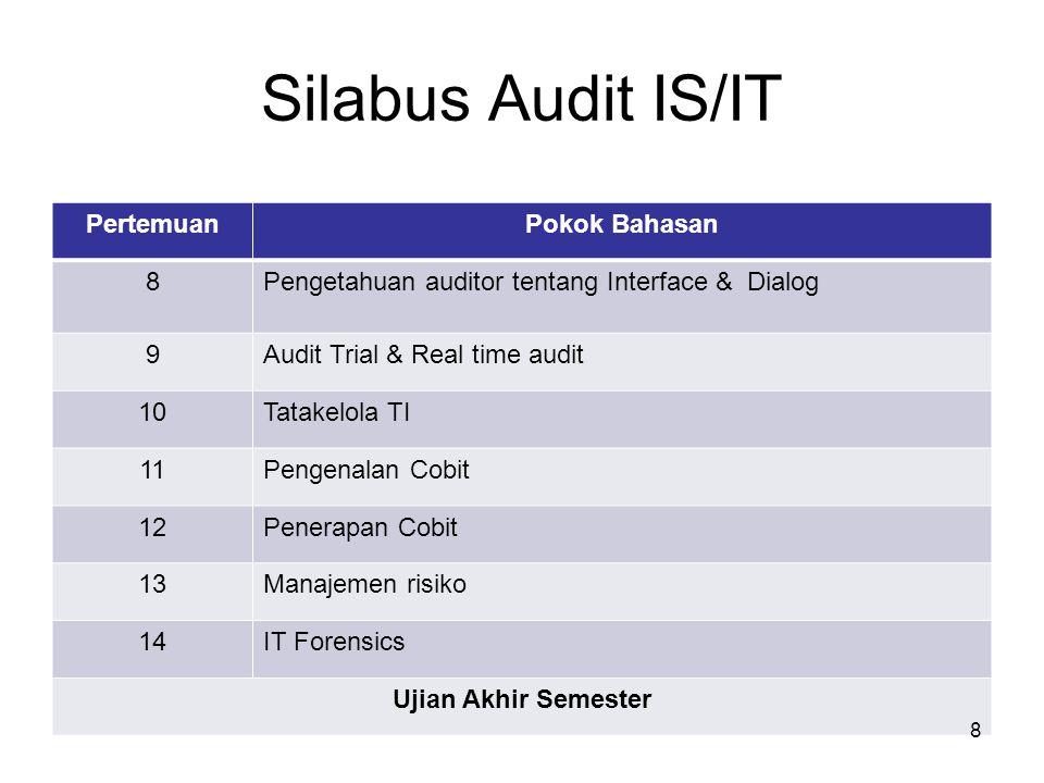 Silabus Audit IS/IT Pertemuan Pokok Bahasan 8