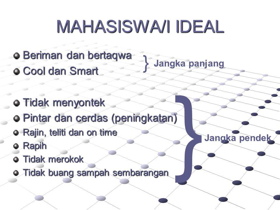 } } MAHASISWA/I IDEAL Beriman dan bertaqwa Cool dan Smart