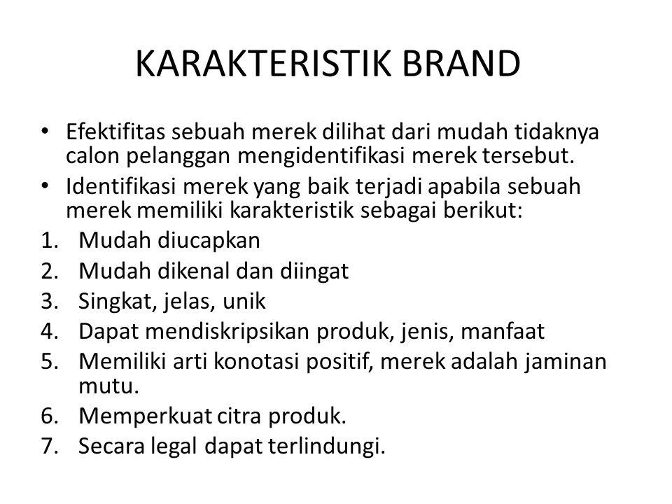 KARAKTERISTIK BRAND Efektifitas sebuah merek dilihat dari mudah tidaknya calon pelanggan mengidentifikasi merek tersebut.