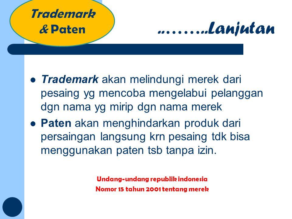 Undang-undang republik indonesia Nomor 15 tahun 2001 tentang merek