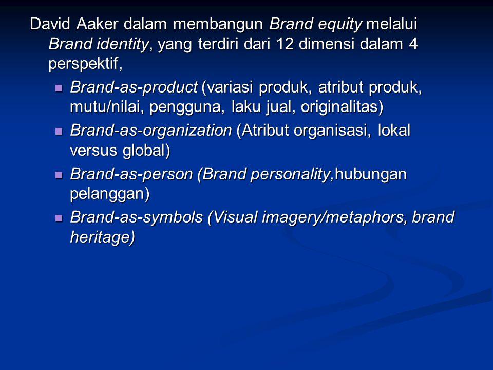 David Aaker dalam membangun Brand equity melalui Brand identity, yang terdiri dari 12 dimensi dalam 4 perspektif,