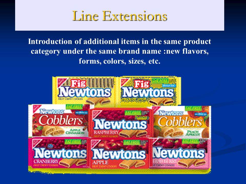 Line Extensions Introduction of additional items in the same product category under the same brand name :new flavors, forms, colors, sizes, etc.