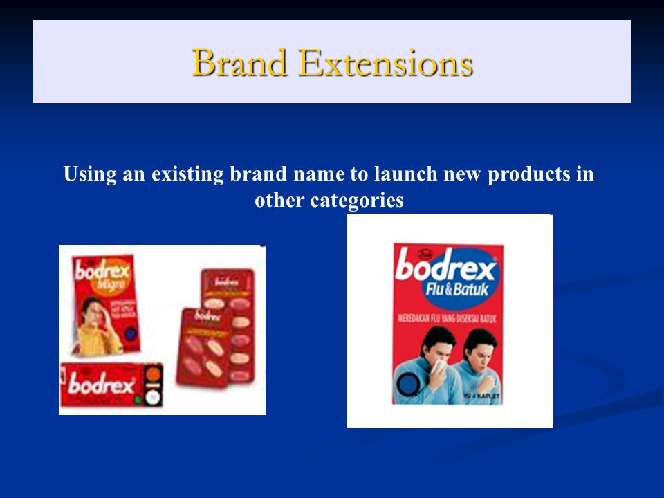 Brand Extensions Using an existing brand name to launch new products in other categories