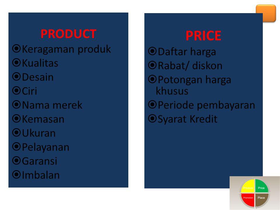 PRICE PRODUCT Keragaman produk Daftar harga Kualitas Rabat/ diskon