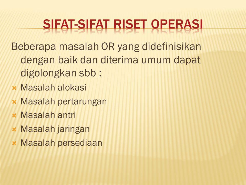 Sifat-Sifat Riset Operasi