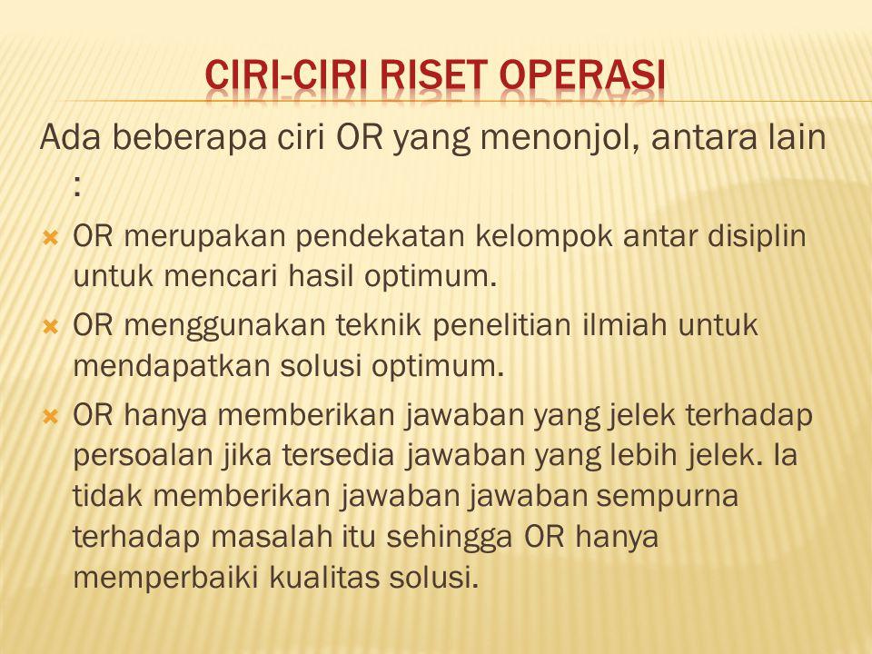 Ciri-Ciri Riset Operasi