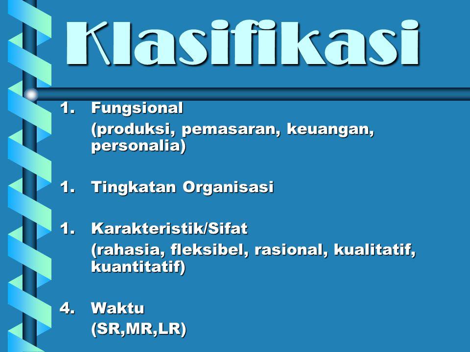 Klasifikasi Fungsional (produksi, pemasaran, keuangan, personalia)
