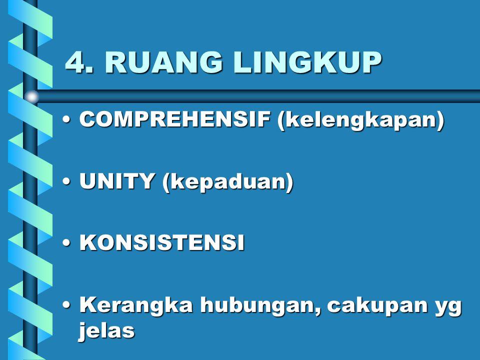 4. RUANG LINGKUP COMPREHENSIF (kelengkapan) UNITY (kepaduan)