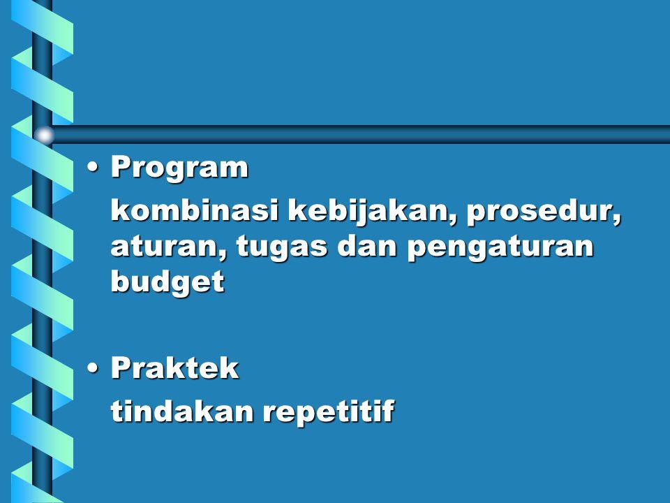 Program kombinasi kebijakan, prosedur, aturan, tugas dan pengaturan budget.