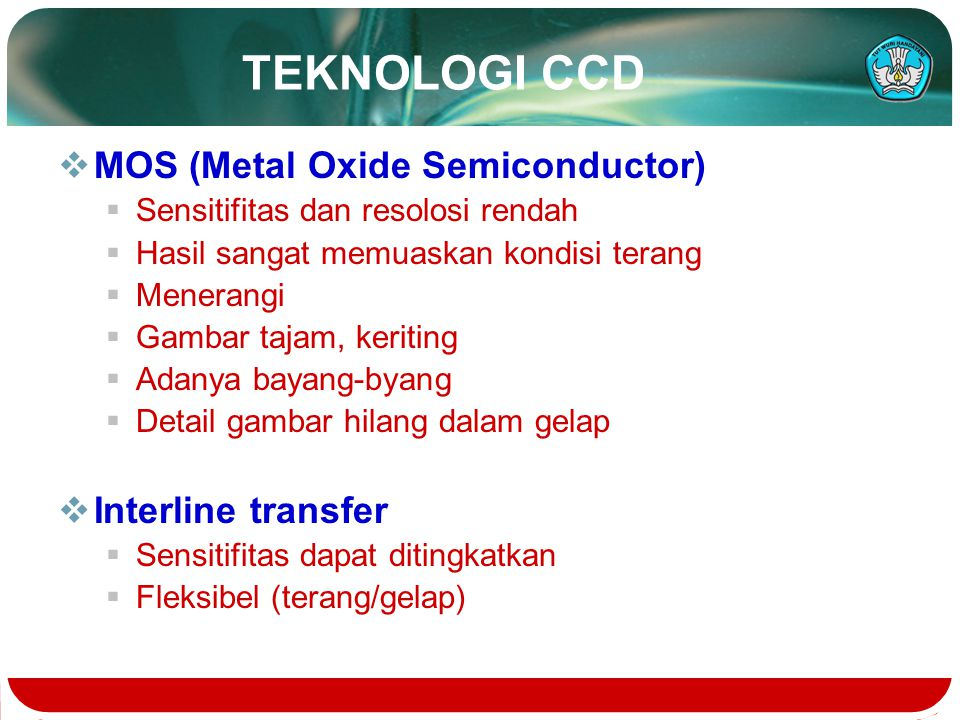 TEKNOLOGI CCD MOS (Metal Oxide Semiconductor) Interline transfer