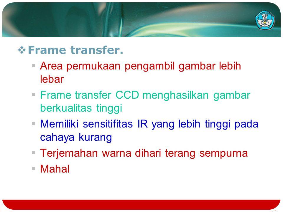 Frame transfer. Area permukaan pengambil gambar lebih lebar. Frame transfer CCD menghasilkan gambar berkualitas tinggi.