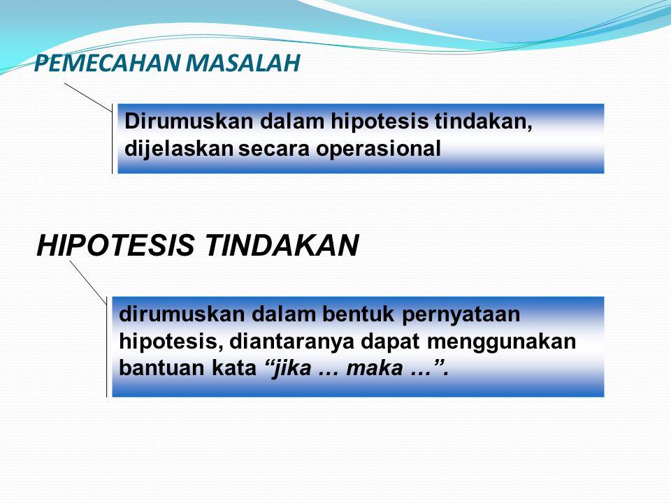 PEMECAHAN MASALAH Dirumuskan dalam hipotesis tindakan, dijelaskan secara operasional. HIPOTESIS TINDAKAN.