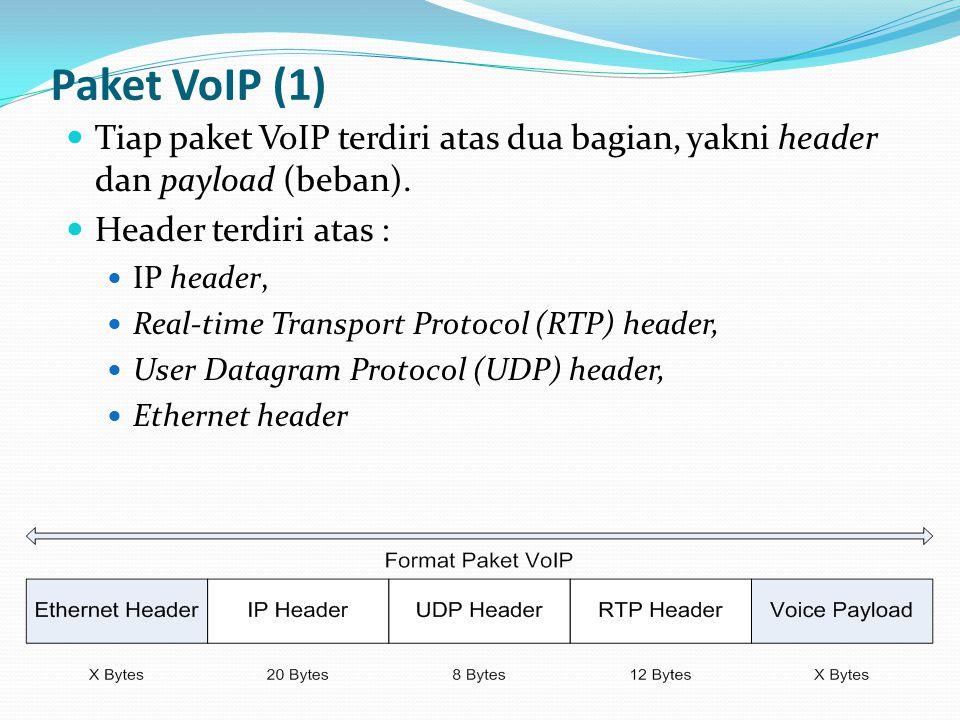 Paket VoIP (1) Tiap paket VoIP terdiri atas dua bagian, yakni header dan payload (beban). Header terdiri atas :