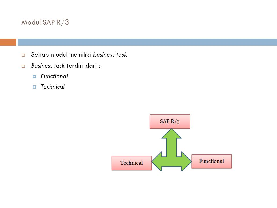 Modul SAP R/3 Setiap modul memiliki business task