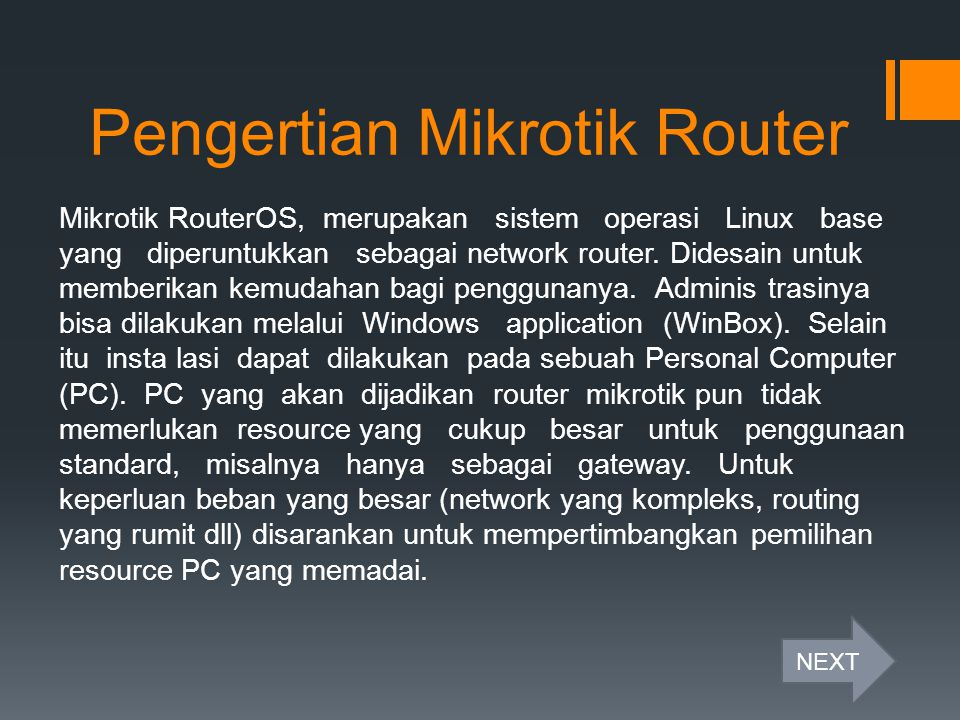 Pengertian Mikrotik Router