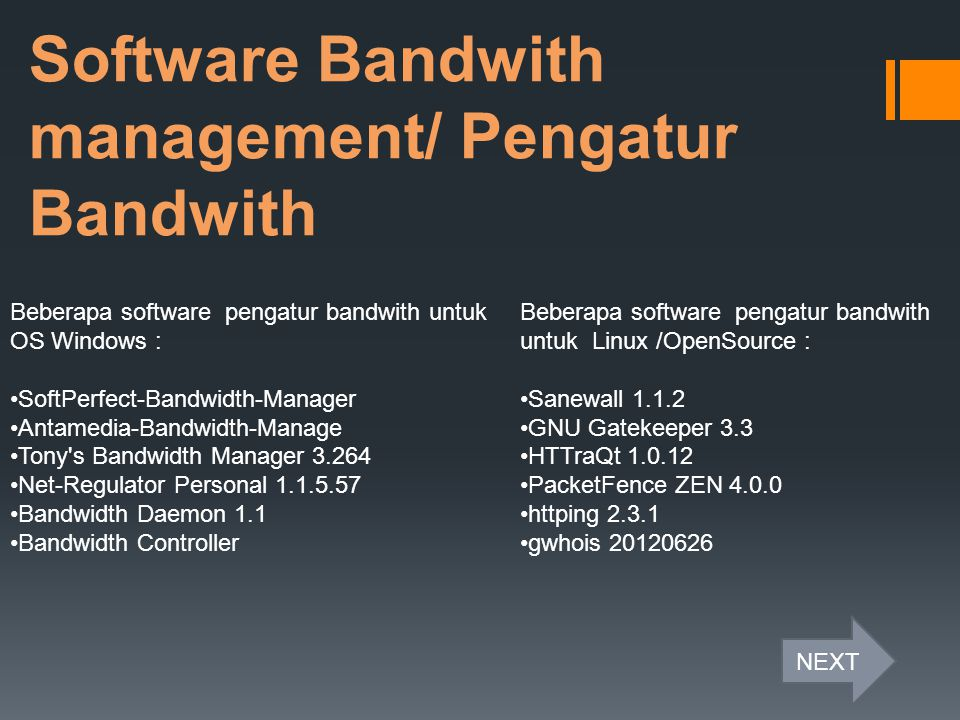 Software Bandwith management/ Pengatur Bandwith