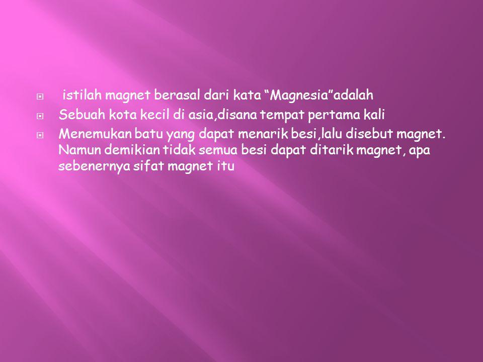 istilah magnet berasal dari kata Magnesia adalah