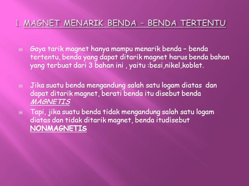 1. MAGNET MENARIK BENDA – BENDA TERTENTU