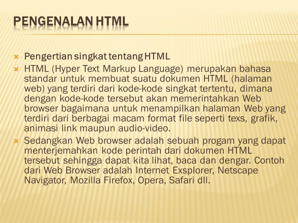 Pengenalan HTML Pengertian singkat tentang HTML