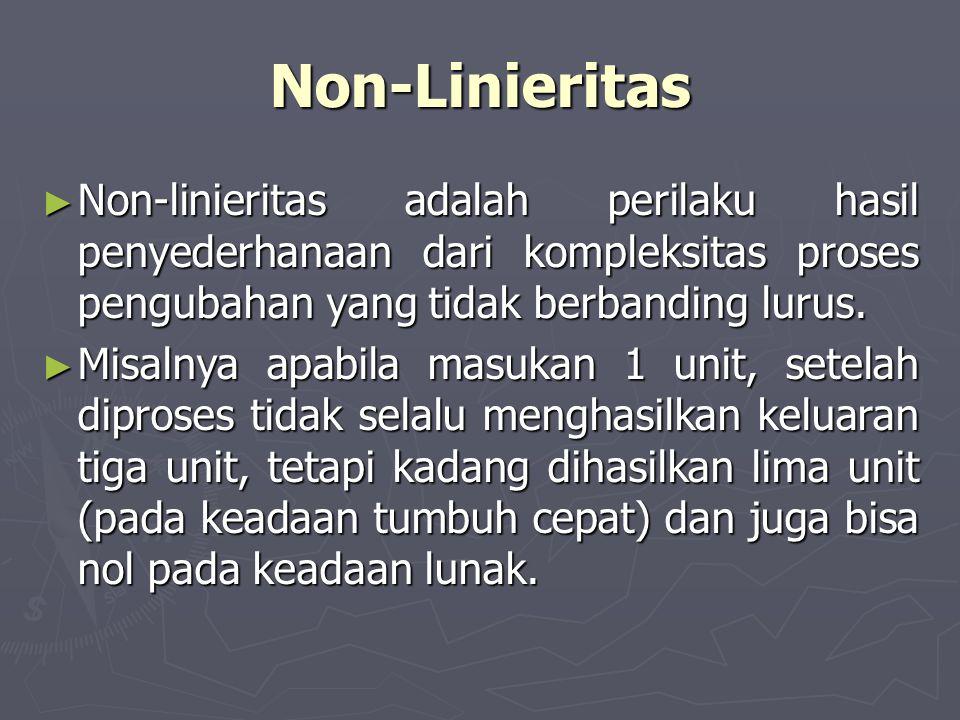 Non-Linieritas Non-linieritas adalah perilaku hasil penyederhanaan dari kompleksitas proses pengubahan yang tidak berbanding lurus.