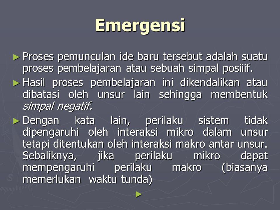Emergensi Proses pemunculan ide baru tersebut adalah suatu proses pembelajaran atau sebuah simpal posiiif.