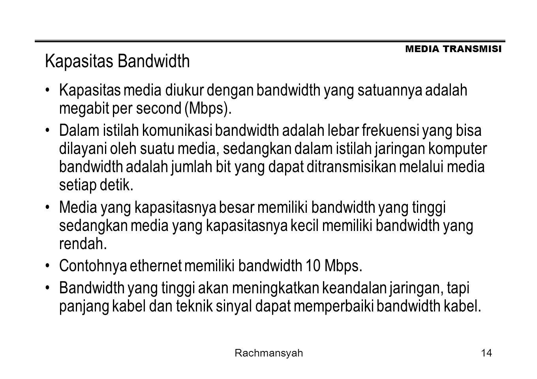 Kapasitas Bandwidth Kapasitas media diukur dengan bandwidth yang satuannya adalah megabit per second (Mbps).