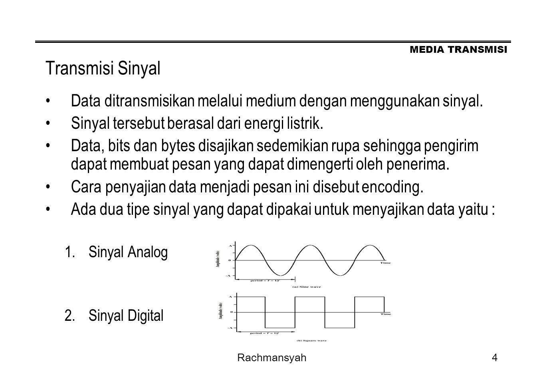 Transmisi Sinyal Data ditransmisikan melalui medium dengan menggunakan sinyal. Sinyal tersebut berasal dari energi listrik.
