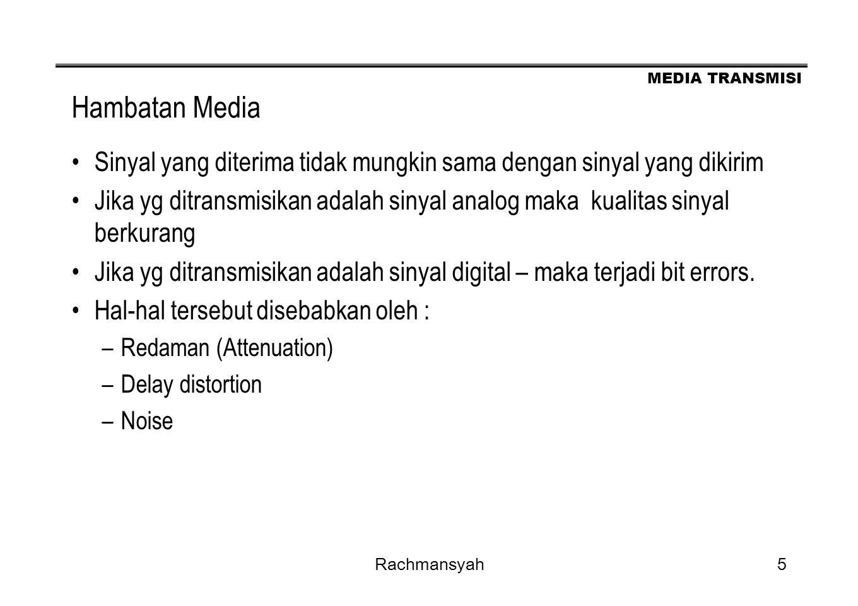 Hambatan Media Sinyal yang diterima tidak mungkin sama dengan sinyal yang dikirim.