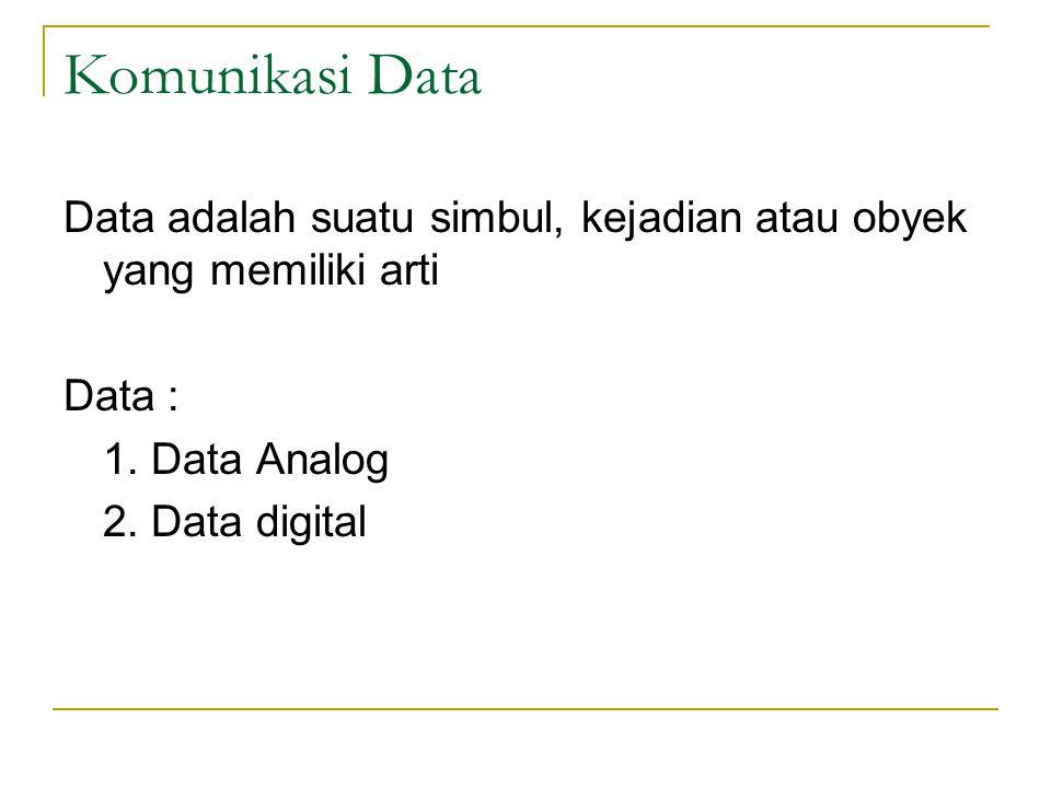 Komunikasi Data Data adalah suatu simbul, kejadian atau obyek yang memiliki arti. Data : 1. Data Analog.