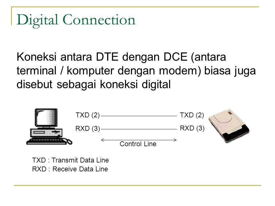 Digital Connection Koneksi antara DTE dengan DCE (antara terminal / komputer dengan modem) biasa juga disebut sebagai koneksi digital.