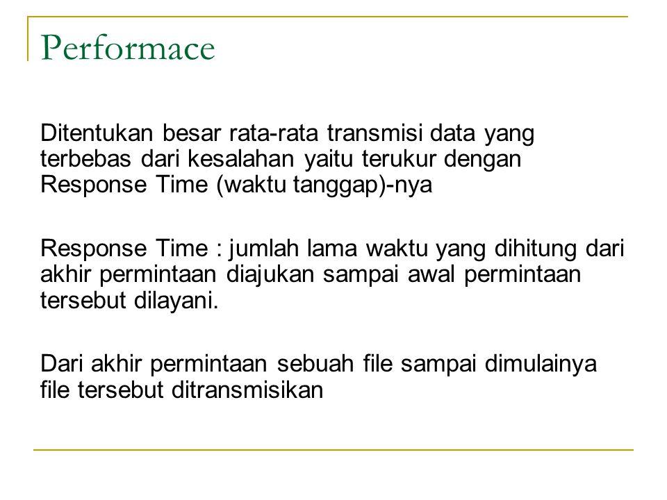 Performace Ditentukan besar rata-rata transmisi data yang terbebas dari kesalahan yaitu terukur dengan Response Time (waktu tanggap)-nya.