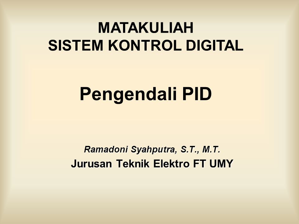 Ramadoni Syahputra, S.T., M.T. Jurusan Teknik Elektro FT UMY