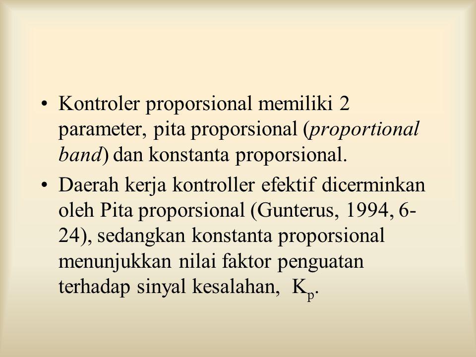 Kontroler proporsional memiliki 2 parameter, pita proporsional (proportional band) dan konstanta proporsional.