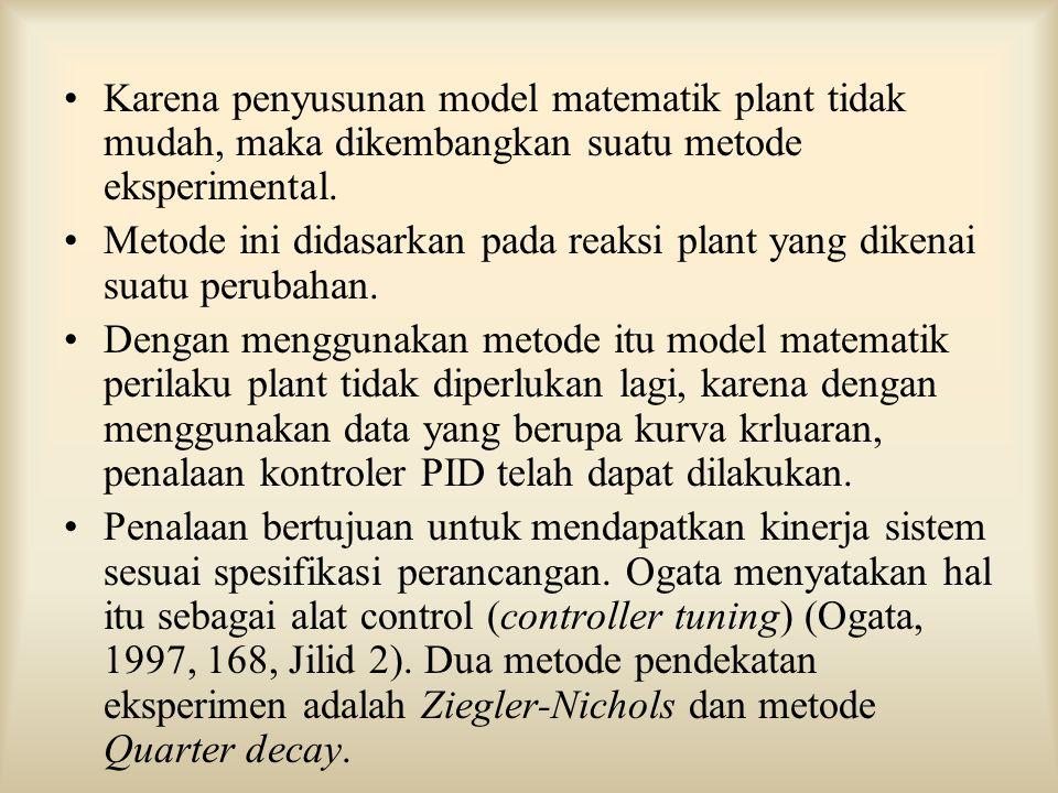 Karena penyusunan model matematik plant tidak mudah, maka dikembangkan suatu metode eksperimental.