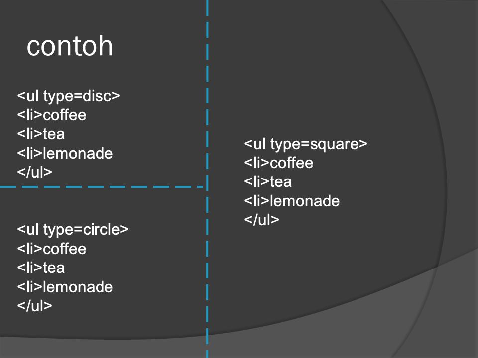 contoh <ul type=disc> <li>coffee <li>tea