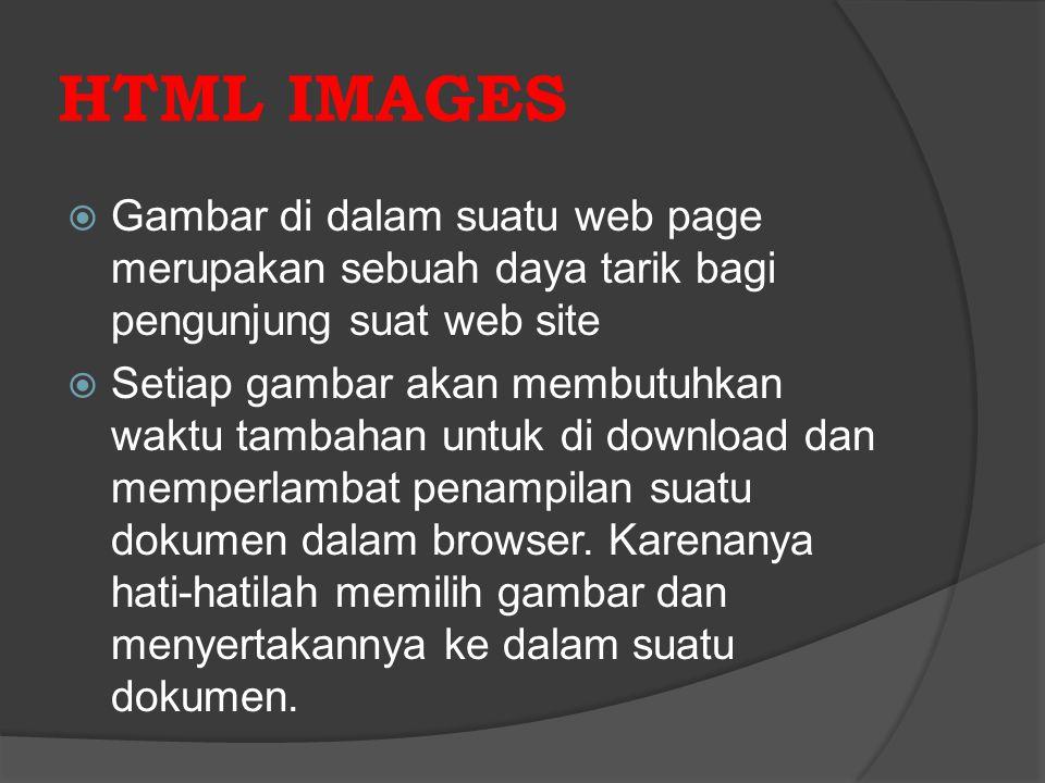 HTML IMAGES Gambar di dalam suatu web page merupakan sebuah daya tarik bagi pengunjung suat web site.
