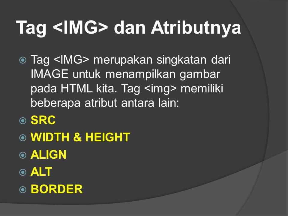 Tag <IMG> dan Atributnya