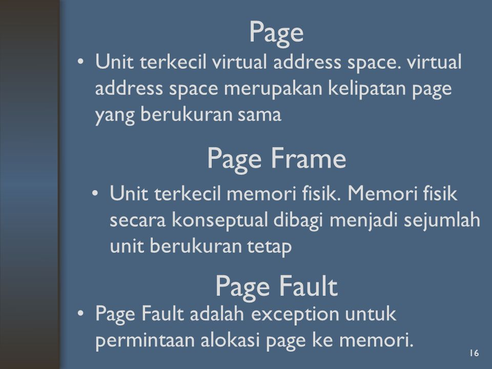 Page Page Frame Page Fault