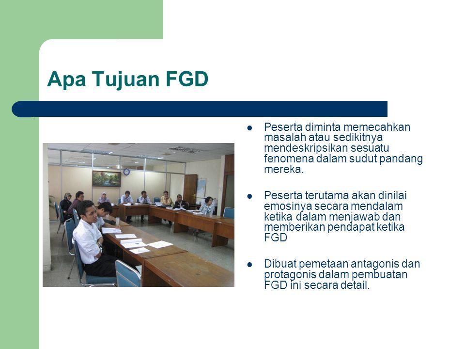 Apa Tujuan FGD Peserta diminta memecahkan masalah atau sedikitnya mendeskripsikan sesuatu fenomena dalam sudut pandang mereka.