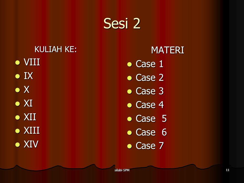 Sesi 2 MATERI VIII Case 1 IX Case 2 X Case 3 XI Case 4 XII Case 5 XIII