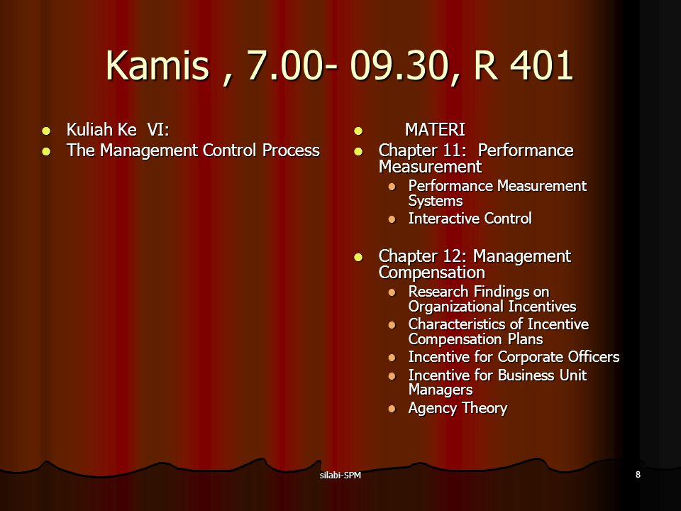 Kamis , 7.00- 09.30, R 401 Kuliah Ke VI: The Management Control Process. MATERI. Chapter 11: Performance Measurement.